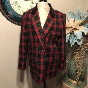 Sag Harbor Christmas plaid wool blend blazer